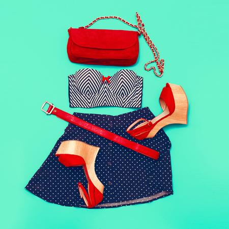 Marine fashion style. Set clothes lady. Stylish accessories & Shoes Stock Photo