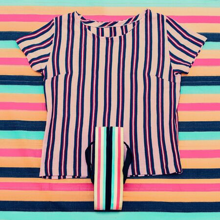trend: Striped trend. Beach set. Shirts and sandals Stock Photo