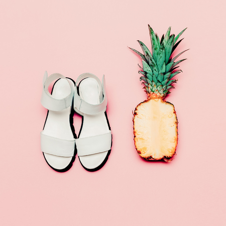 vanilla: Summer fashion set. Vanilla style pineapple and sandals