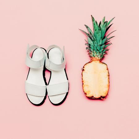 pineapple juice: Summer fashion set. Vanilla style pineapple and sandals