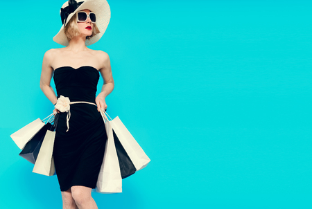 Glamorous summer shopping lady style. Stock Photo
