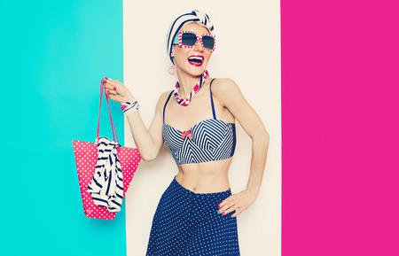 Happy Glamorous lady in Summer beach marine style