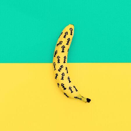 half fish: Fashion banana fish skeleton. Minimalism style Stock Photo