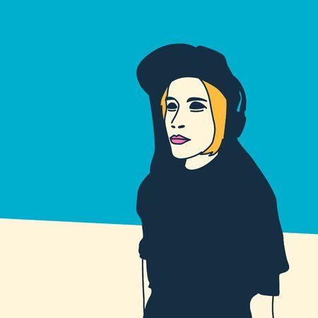 charismatic: Girl DJ Music style Pop Art Illustration