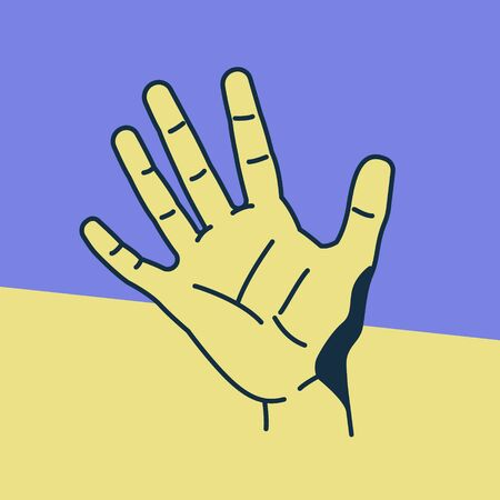 palmistry: Hand. Pop art comic style. Minimalism fashion. Illustration