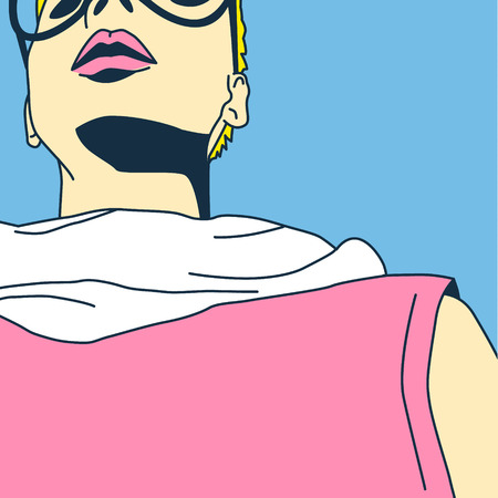 funky: Blonde Lady comics. fashion Pop Art style.