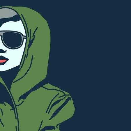 fashionable: Urban girl style. Comics pop art fashion. Illustration