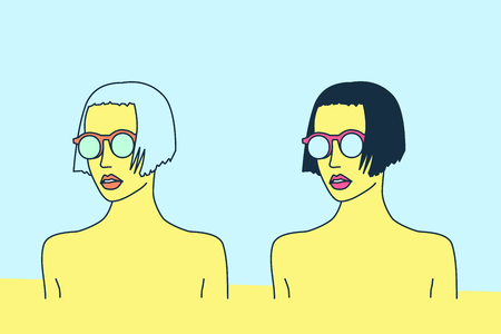 mix: Mix Blonde and Brunette. Bob bob. Stylish Pop Art