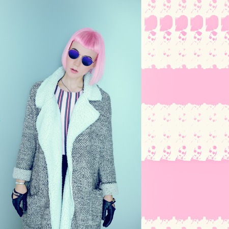 Funny collage. Pink Lady. vanilla accent
