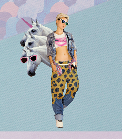 Fashion Collage Magazine.The farm of my dreams. Blonde in stylish denim clothing. Standard-Bild