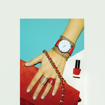 exclusive photo: Stylish Accessories. Red is always a trend. Fashion jewelery and bags.