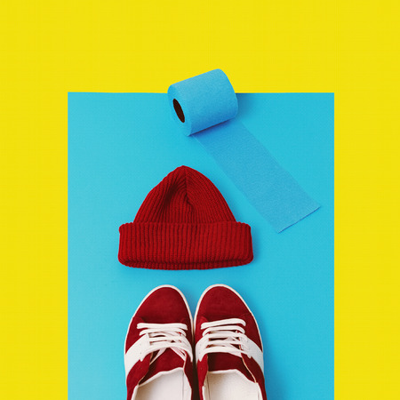 Stylish hipster set. Sneakers and cap