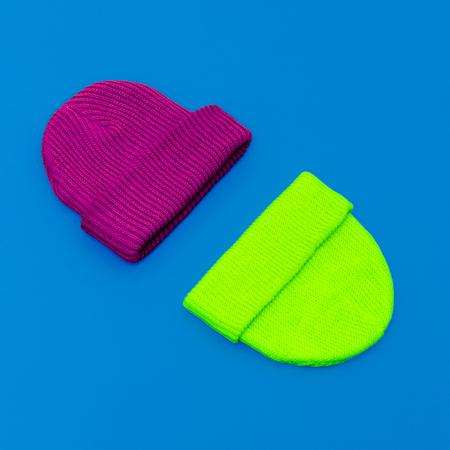 warm cloth: Stylish hipster cap. Bright neon design set Stock Photo