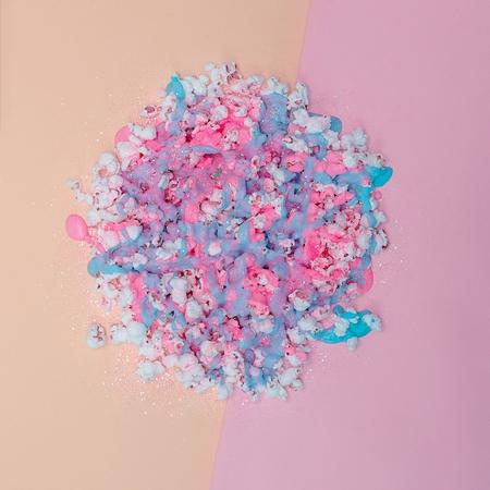pastel colors: Popcorn in paint and glitter. Vanilla pastel colors. Minimalism fashion art