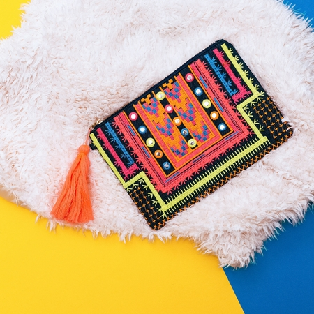 pastel colors: Fashion Bright Clutch Lady. Minimalism. Geometric print
