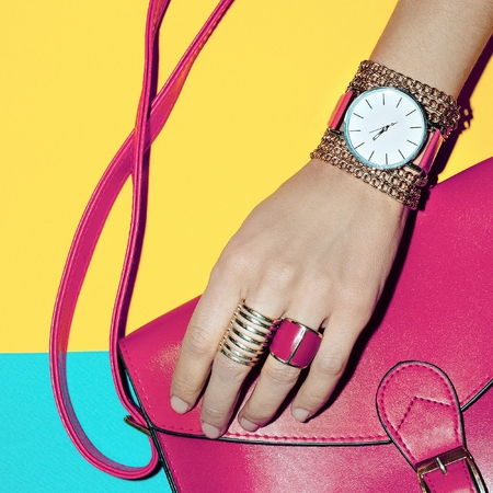 exclusive photo: Bright Summer Fashion Accessories Ladies. Pink Jewelry and Bag.