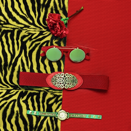 clutch bag: Stylish Tiger Print. Fashion accessories. Focus on red. Be passion lady.