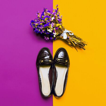 varnished: Stylish Fall. Fashionable womens shoes. Burgundy trend Stock Photo