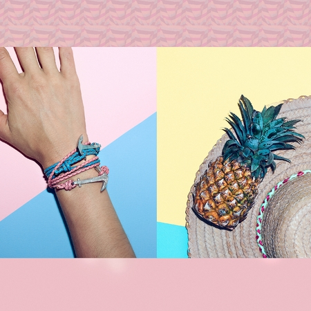 Go to the beach. Tropical style accessories. Hat and trendy bracelets anchor.