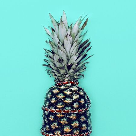 Glamorous Pineapple with chain. Minimal style.