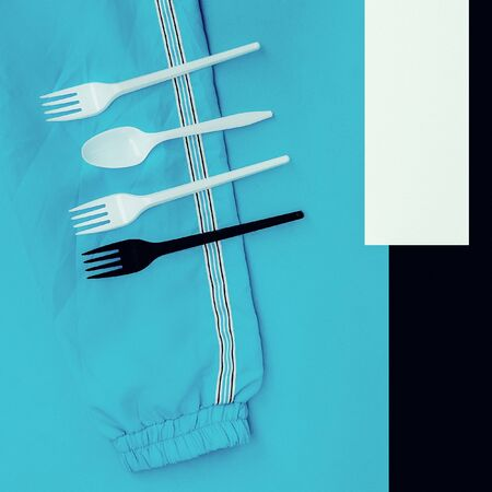 easing: Plastic Life. Plastic tableware. Minimalism art.