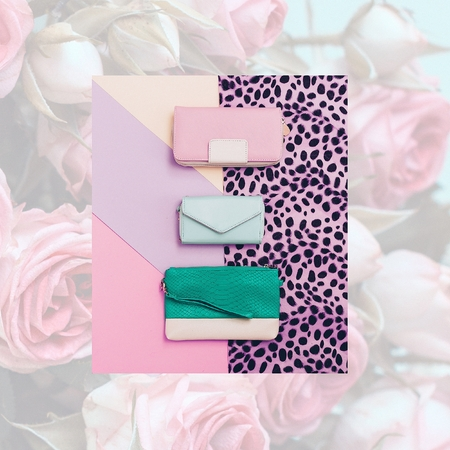 clutches: Set of stylish clutches. Pastel Color Trend. Fashion Leopard Print