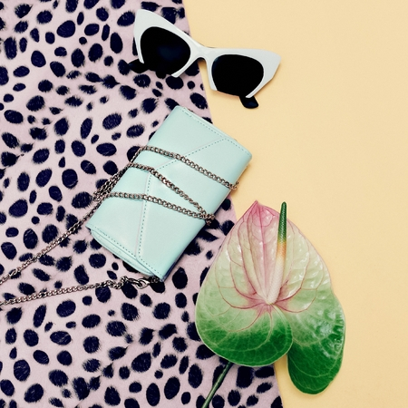 Fashion Accessories Ladies. Stylish Sunglasses and clutch. Pastel Color Trend