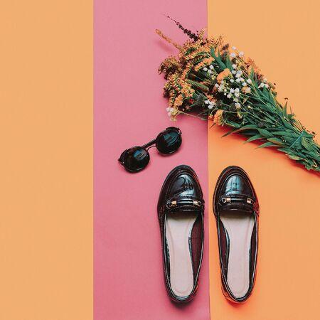 moccasins: Autumn arrives. Stylish Moccasins and glasses for Lady. minimal fashion Stock Photo