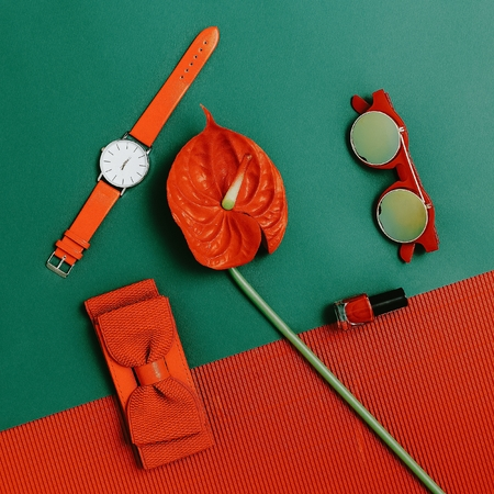 vintage objects: Fashion accessories set. Focus on red. Be passion lady.