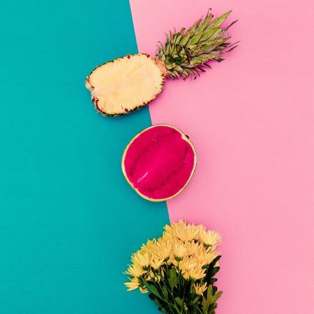 Summer Mix Flowers and fruit. Minimalist fashion