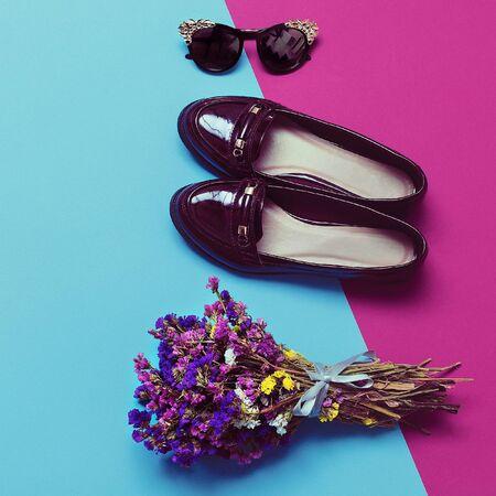 varnished: Stylish Accessories Lady. Fashion Autumn season Shoes and Luxury Glasses
