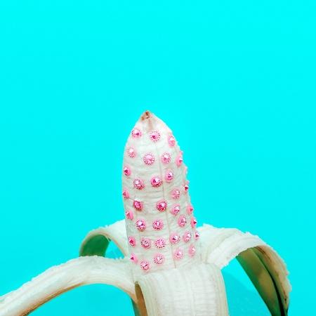 Glamorous banana with crystals. Minimal fashion style Stock Photo