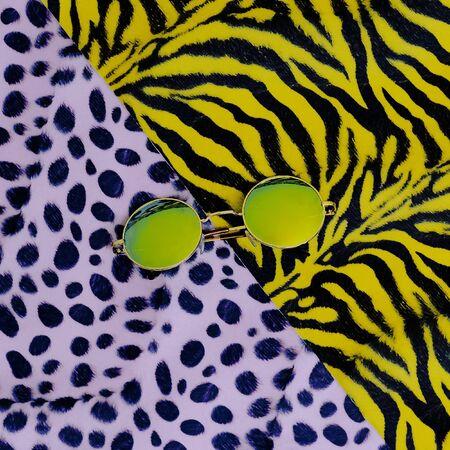 safari animal: Fashion Sunglasses. Trendy Animal Pattern. Safari Style Stock Photo