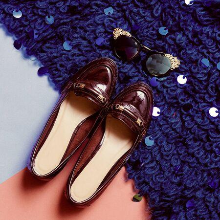 Varnish Luxury shoes and glasses. Fashion Glamour style Stock Photo