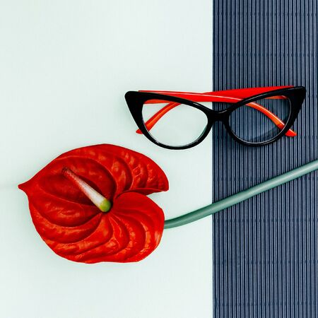 Stylish Ladies Glasses and red accents. Be glamorous