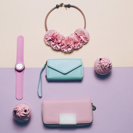 Ladies Fashion Accessories. Wallet, watch, necklace. Pastel colors Trend Minimal