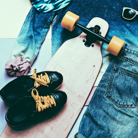 strip shirt: Set Fashion Denim clothing and accessories Cap Skateboard Sneakers Sports style