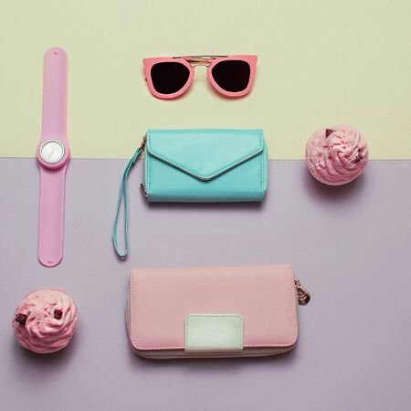 Ladies Fashion Accessories. Wallet, watch, necklace, glasses. Pastel colors Trend Minimal
