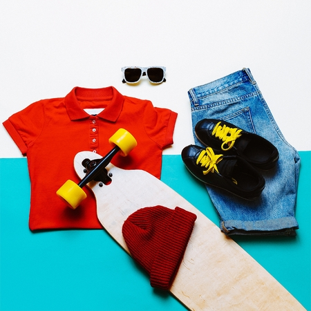 clothes interesting: Urban style set. Jeans T-shirt glasses. Skateboard fashion. Active life style