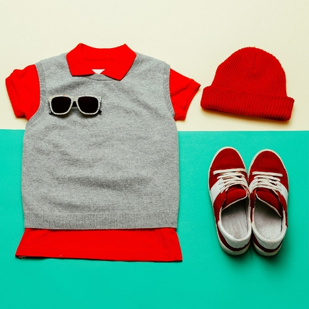 clothes interesting: Stylish clothes. Skateboard fashion. Focus on red.