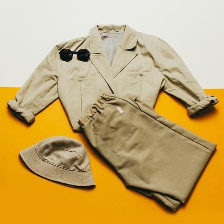 strip shirt: Vintage outfit panama sunglasses. Retro Style Beige Lady