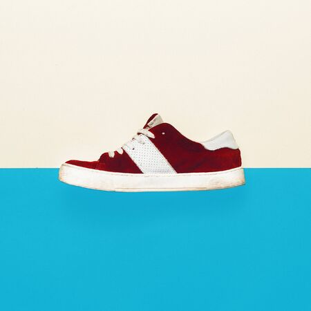 shoelace: Skateboard style. Trendy sneakers. minimal design Stock Photo