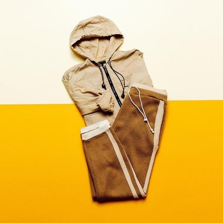 strip shirt: Urban Style Clothing. Skateboard fashion outfit. beige color trend