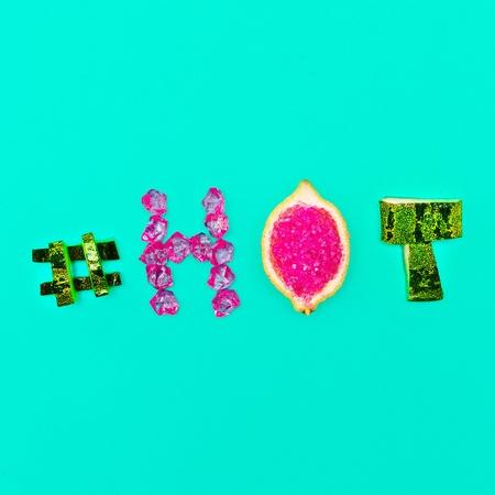 Minimal design Summer mood Fresh Fruit Crystals hashtag hot and glamor