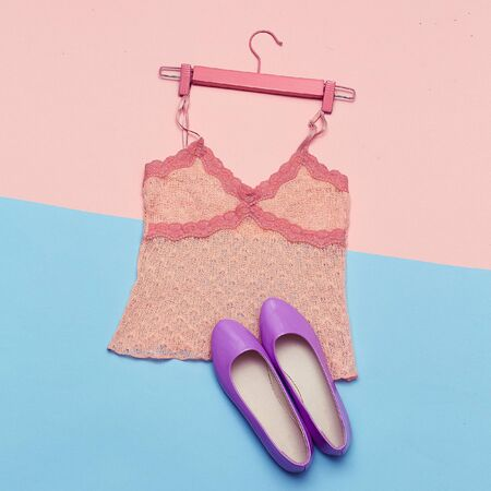 Romantic Summer Outfit Top and shoes for Lady Top View Stock Photo