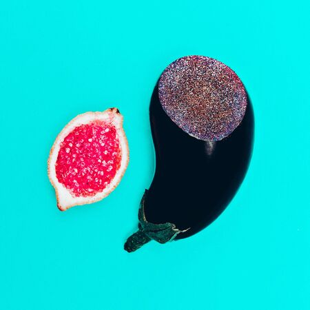eggplant and citrus. Glam Fashion Surreal art design minimal