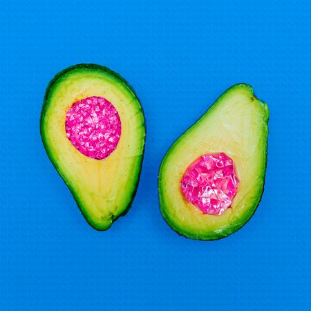 Minimal Avocado in abstraction Surreal Art Still Life Fashion glitter details Stock Photo