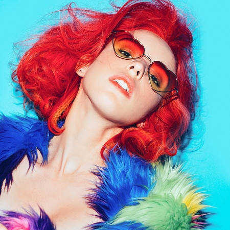 vulgar: Sexy lady with red hair in the bright coat, Sunglasses hearts Club Style Party
