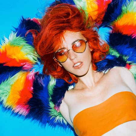 gels: Glamorous Girl stylish Red Hair, Bright coat, Sunglasses hearts Club Style Party