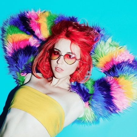 vulgar: Sensual Lady with Red Hair in the bright coat, Sunglasses hearts Club Style Party